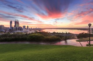 A high resolution DSLR photo of the City of Perth Western Australia taken from Kings Park at Sunrise. View of the City of Perth, Kings Park and the Swan River.